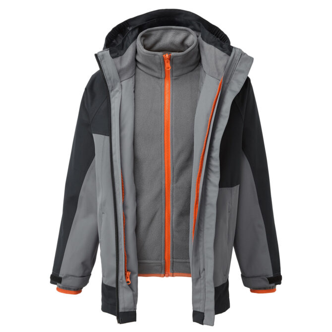 ZHG2573 HI GEAR TRANSITION 3 IN 1 JACKET BOYS ANTHRACITE FRONT OPEN