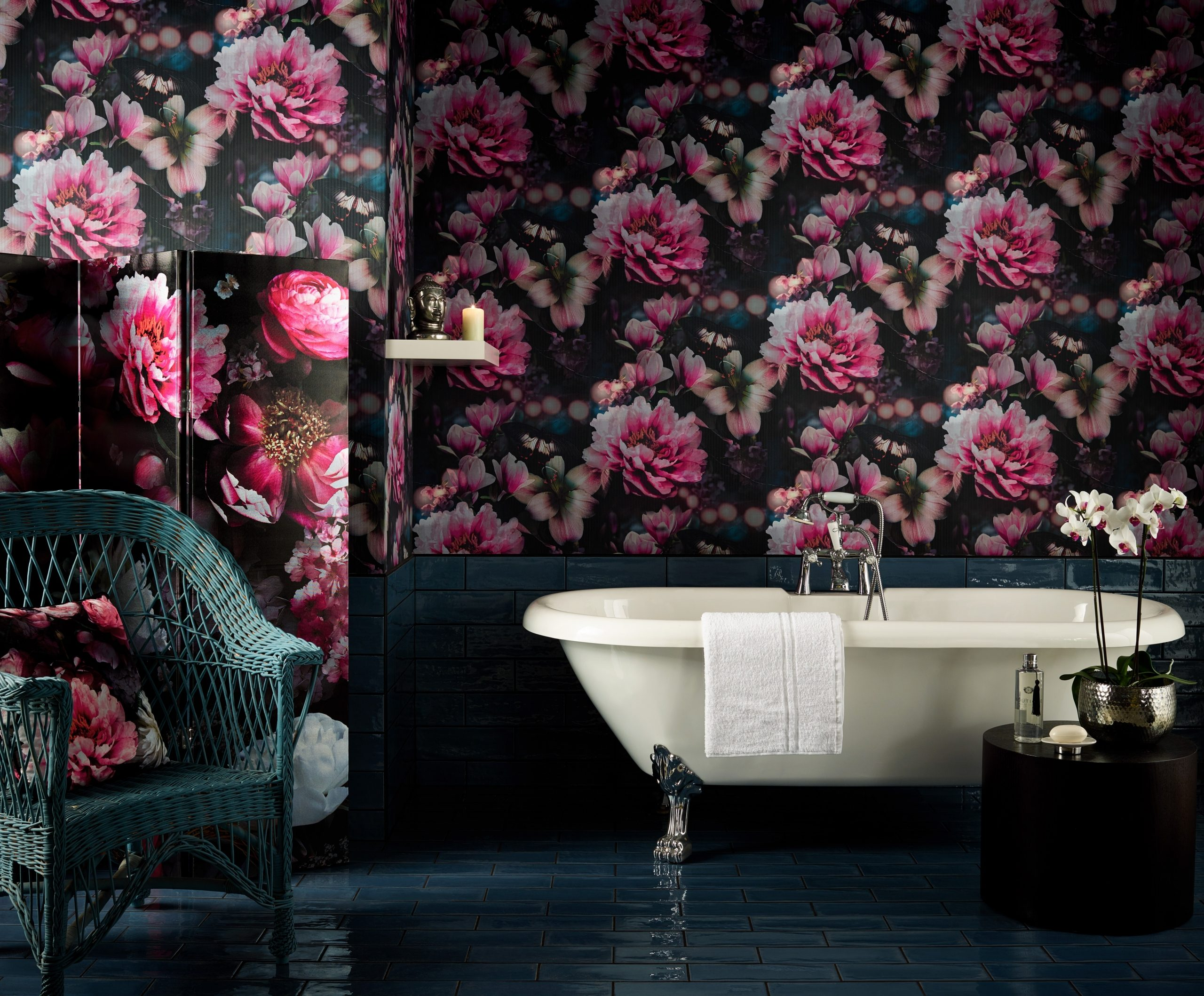 Dramatic Floral Bathroom