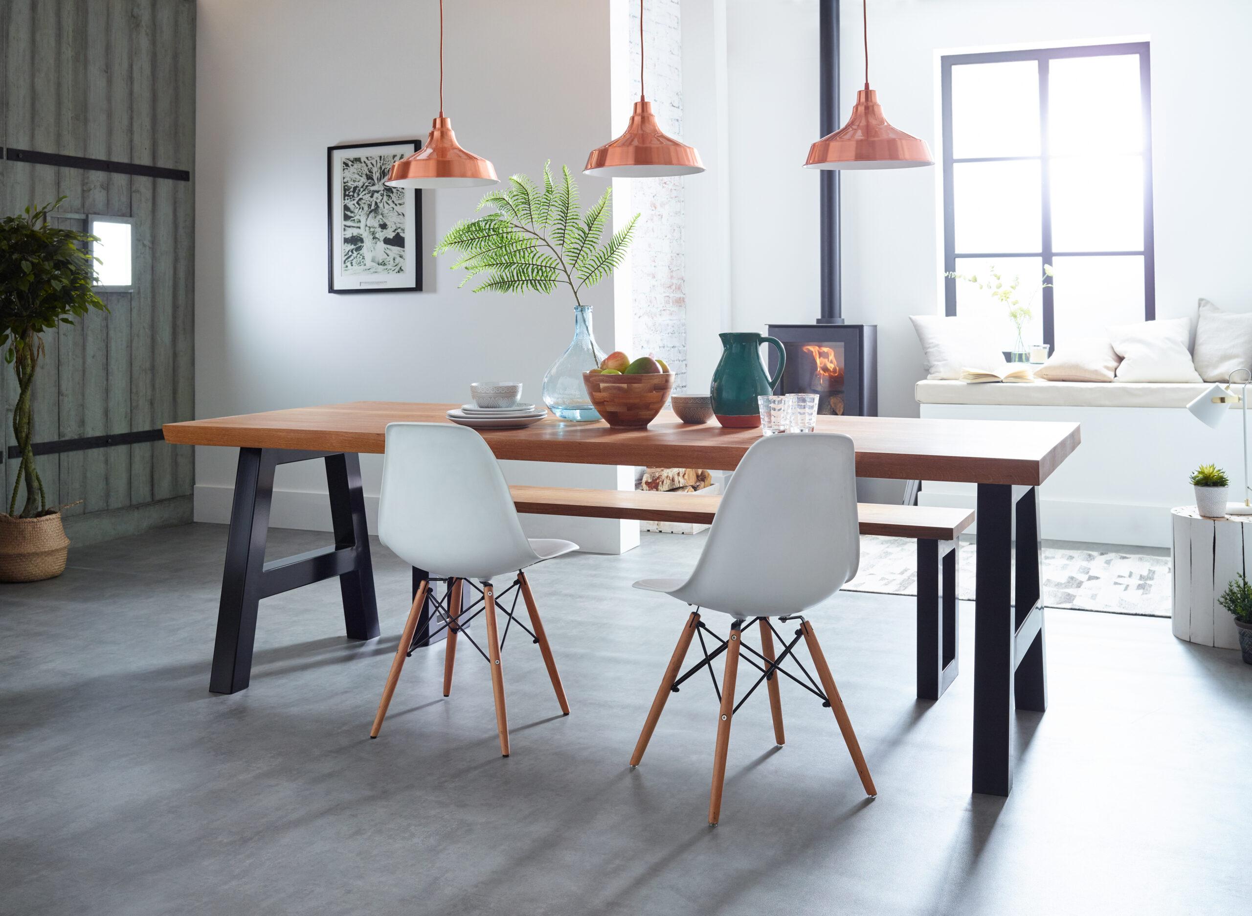 Oak 55mm A Dining Table Legs Black Lifestyle Main